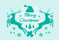 Reindeer silhouette mery christmas poster flat vector illustration Stock Photography