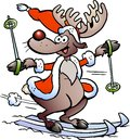 Reindeer Skiing Stock Photography