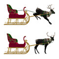 Reindeer with sleigh digitally rendered illustration of a on white background Stock Image