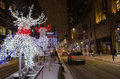 Reindeer and sleigh during a white christmas in toronto december is canada s largest city sixth largest Stock Photography