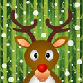 Reindeer and snow on bamboo background Royalty Free Stock Photography