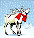 Reindeer in Snow with Scarf Royalty Free Stock Images