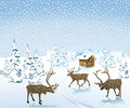 Reindeer in snowy countryside with trees and wooden cabin background winter scene Stock Photo