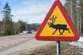 Reindeer warning sign Sweden