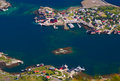 Reine on the lofoten in norway coastal town of photographed from above from reinebringen Royalty Free Stock Photo