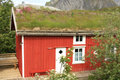 Reine's lodge with grass on the roof Royalty Free Stock Photo