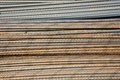 Reinforcing bar in detail armoring at the building site to stabilize the fundament made of iron Royalty Free Stock Photography