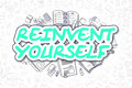 Reinvent Yourself - Cartoon Green Word. Business Concept. Royalty Free Stock Photo