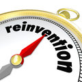 Reinvention gold compass start new life career word on a to illustrate the need to renew rebuild revitalize or make changes to Royalty Free Stock Photos