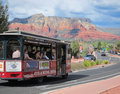 Reisebus in sedona Stockfotos