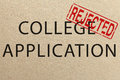 Rejected college application form on paper Royalty Free Stock Image