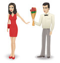 Rejection of the bouquet man gives a girl a roses girl refuses Stock Image