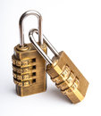 Related pair of golden code master key Stock Image