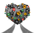 Relationship advice guidance and love counseling concept with a group of tangled roads shaped as a heart with confusing traffic Stock Images