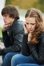 Relationship difficulties of young people couple Stock Photo
