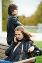 Relationship difficulties of young people couple Royalty Free Stock Photo