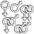 Relationship gender symbols Stock Photos