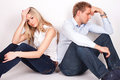 Relationship problems sad couple having Royalty Free Stock Images