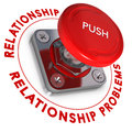 Relationship problems and solutions concept red push button over white background urgency Stock Photography