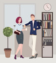 Relationships at work. coffee break. woman and man are flirting. Colorful flat illustration.