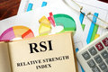 Relative strength index rsi words written on a book business concept Royalty Free Stock Images