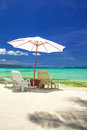 Relax area on beach with umbrella to shade from sunlight great for summer vacation background Royalty Free Stock Photos