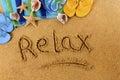 Relax beach writing Royalty Free Stock Photo