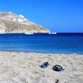 Relax with beautiful beach and Aegean sea Royalty Free Stock Image