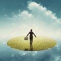 Relax business woman holding bag in floating grass land over the sky Stock Images