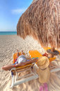 Relax on the Caribbean beach Stock Photography