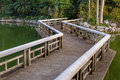 Relax footpath bridge on water in park Stock Photography