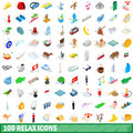 100 relax icons set, isometric 3d style