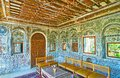 Relax in medieval mirror veranda of Persian mansion, Shiraz, Ira Royalty Free Stock Photo