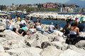 Relax in naples young people near the sea at italy Stock Image