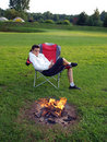 Relax near fire Royalty Free Stock Photos