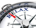 Relax towards east blue word indicated by compass conceptual image clipping path included Royalty Free Stock Photo