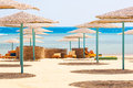 Relax under parasol on the beach of red sea egypt Stock Image