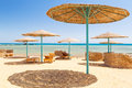 Relax under parasol on the beach of red sea egypt Royalty Free Stock Photos