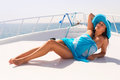 Relax on the yacht cruise beautiful woman in hat relaxing Royalty Free Stock Photography