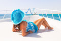 Relax on the yacht cruise beautiful woman in hat relaxing Royalty Free Stock Photos