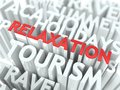 Relaxation concept word red color located over text white color Stock Photos