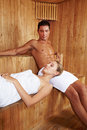 Relaxation in sauna Royalty Free Stock Photos