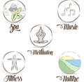 Relaxation symbols symbol collection hand drawn meditation yoga nature music spa fitness helps to prevent stress and be relaxed Stock Images