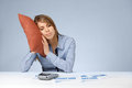 Relaxation in work burnout woman having a rest sleep relax snooze nap doze tired worker weary woman with pillow graphs sheets and Stock Photos