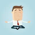 Relaxed cartoon businessman jumping in yoga position with eyes closed Stock Photos