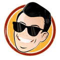 Relaxed cartoon head with sunglasses illustration of a Stock Images