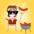 Relaxed cartoon man with sausage