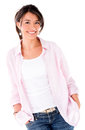 Relaxed casual woman smiling isolated over white background Stock Photography