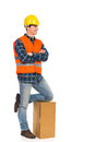 Relaxed construction worker young with arms crossed full length studio shot isolated on white Royalty Free Stock Photos