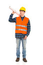Relaxed construction worker young holds paper roll on his shoulder full length studio shot isolated on white Royalty Free Stock Image